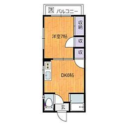 静岡県静岡市駿河区大谷2丁目の賃貸アパートの間取り