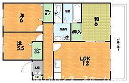 大阪府枚方市村野東町の賃貸アパートの間取り