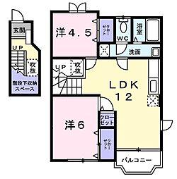 徳島県徳島市国府町和田字居内の賃貸アパートの間取り