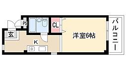 愛知県名古屋市天白区植田東1丁目の賃貸アパートの間取り
