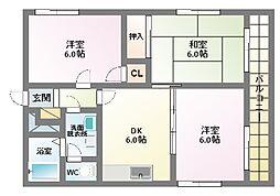 フローリル・北田辺[3階]の間取り