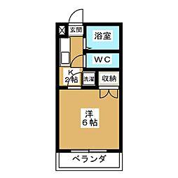 中井マンション新烏丸[3階]の間取り