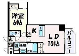 プレサンス三宮フラワーロード 14階1LDKの間取り