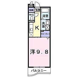 JR宇野線 大元駅 徒歩4分の賃貸マンション 3階1Kの間取り