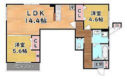 阪急神戸本線 六甲駅 徒歩5分の賃貸アパート 3階2LDKの間取り
