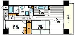 大阪府大阪市天王寺区上本町3丁目の賃貸マンションの間取り
