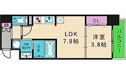 レオンコンフォート谷町九丁目 3階1DKの間取り