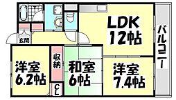 大阪府高石市綾園7丁目の賃貸マンションの間取り