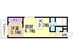 フォレスタ円山 2階1LDKの間取り
