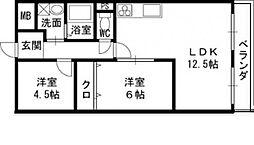 大阪府守口市菊水通3丁目の賃貸マンションの間取り