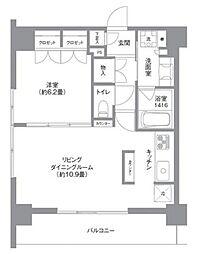 JR山手線 田町駅 徒歩7分の賃貸マンション 13階1LDKの間取り