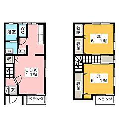 [テラスハウス] 栃木県宇都宮市中今泉2丁目 の賃貸【/】の間取り