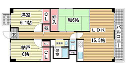 兵庫県神戸市東灘区岡本8丁目の賃貸マンションの間取り