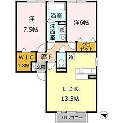 パインハイツ A棟[2階]の間取り