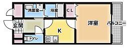 大阪府門真市三ツ島1丁目の賃貸アパートの間取り