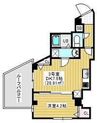 JR総武本線 千葉駅 徒歩10分の賃貸マンション 6階1DKの間取り