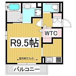 ROSHERI 2階1Kの間取り