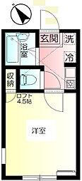 神奈川県横須賀市三春町1丁目の賃貸アパートの間取り