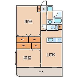 静岡県富士市三ツ沢の賃貸マンションの間取り