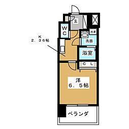 エステムコート名古屋黒川シャルマン 3階1Kの間取り