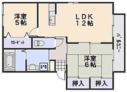 ハピネスK−C[2階]の間取り