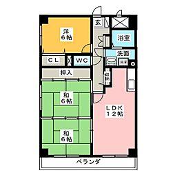 岩井通COSMOS[6階]の間取り