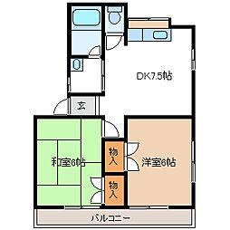 埼玉県久喜市吉羽2丁目の賃貸アパートの間取り