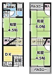 [テラスハウス] 大阪府四條畷市岡山5丁目 の賃貸【/】の間取り