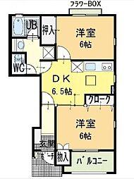 ハーブマンションボナールB[1階]の間取り