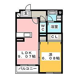 (仮)D-room湘南台B 2階1LDKの間取り