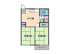 栃木県宇都宮市双葉1丁目の賃貸アパートの間取り
