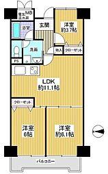 間取り(3LDK、価格2180万円、専有面積61.22m2、バルコニー面積8.24m2 ご家族様におすすめの間取りです)