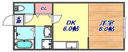 岡本グローリーハイツ[2階]の間取り