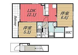 京成本線 京成成田駅 バス22分 富里中学校下車 徒歩13分の賃貸アパート 2階2LDKの間取り