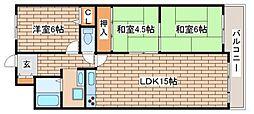 兵庫県神戸市須磨区若草町1丁目の賃貸マンションの間取り