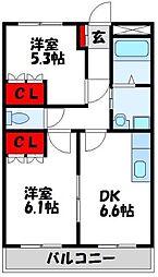 カーサフェリーチェONGA 1階2DKの間取り