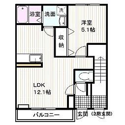 静岡県裾野市岩波の賃貸アパートの間取り