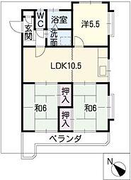 マンション浅井[2階]の間取り