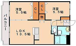 ユーミーマンションめぐみ 1階2LDKの間取り