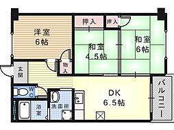 大阪府堺市東区野尻町の賃貸マンションの間取り