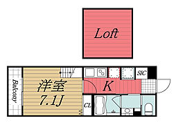 千葉県千葉市中央区春日2丁目の賃貸アパートの間取り