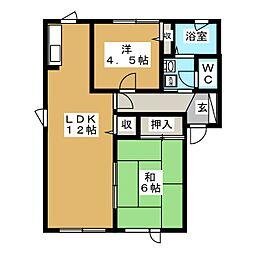ヴァンベールB[1階]の間取り