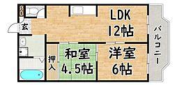 Osaka Metro谷町線 出戸駅 徒歩1分の賃貸マンション 3階2LDKの間取り