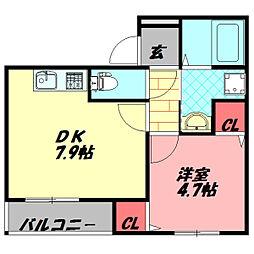 フジパレス守口VI番館 2階1DKの間取り