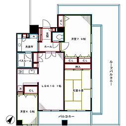 JR中央本線 中野駅 徒歩7分の賃貸マンション 6階3LDKの間取り