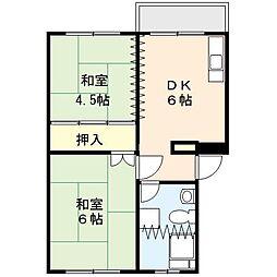 吉野原丸徳マンション 2階2DKの間取り