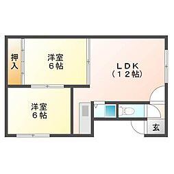 北海道札幌市東区北三十八条東9丁目の賃貸アパートの間取り