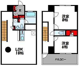 THE R 6階2LDKの間取り