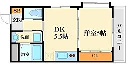 クリスタルコート江坂[3階]の間取り