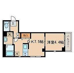 JR山手線 目黒駅 徒歩8分の賃貸マンション 1階1DKの間取り